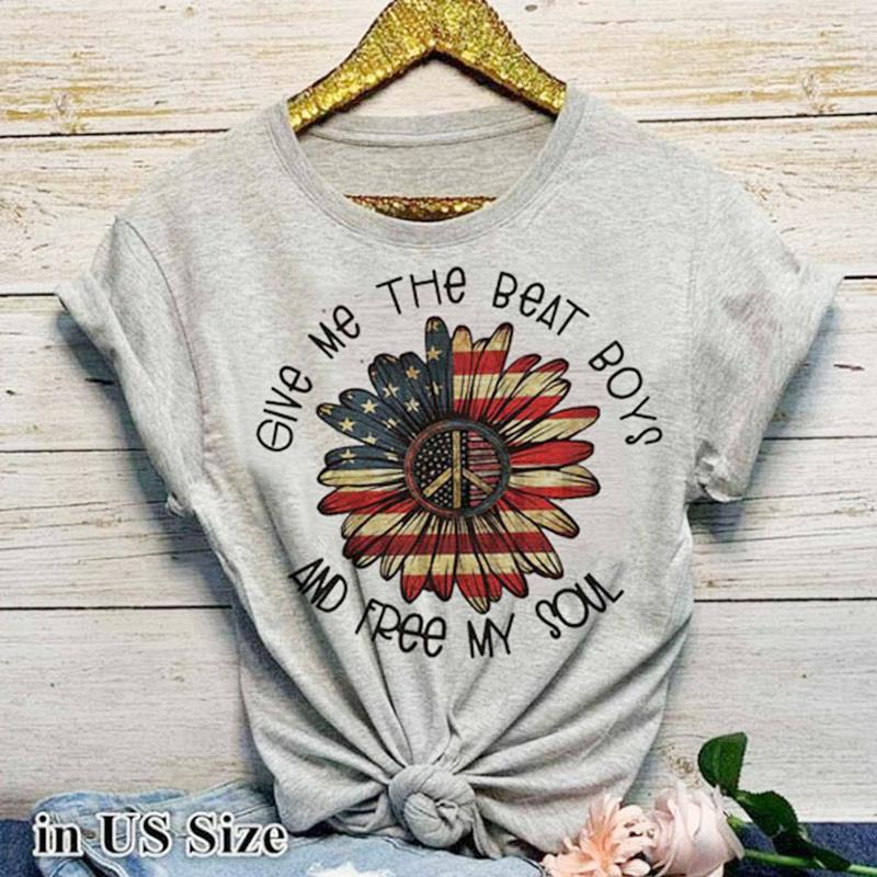Купить женская футболка с графическим принтом летняя американским флагом