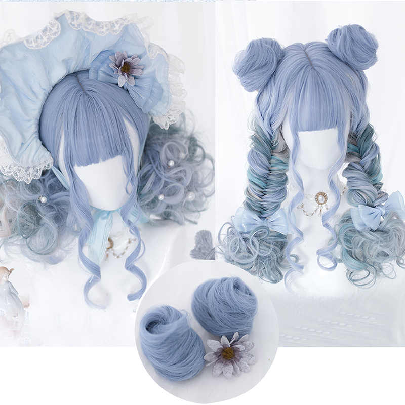 Cosplaysalon Lolita Mixed Blue Ombre Curly Long Short Halloween Women Cute Party Synthetic Cosplay Wig+Buns