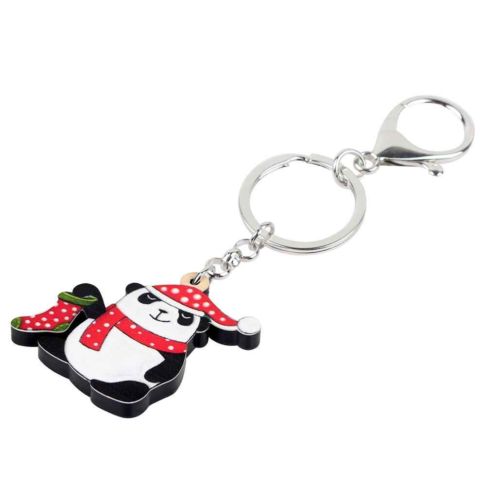 Bonsny Acrylic Christmas Cute Panda Spotted Hat Sock Scarf Key Chains Key Rings Car Wallet Bag Keychain Charms Gift For Girl Men