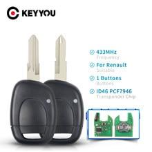 Keyyou 1 botão 433mhz chave do carro remoto apto para renault clio mestre twingo kangoo uncut ne73 vac102 lâmina id46 pcf7946 chip escudo