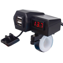 4 In 1 Cars Bike Motorcycle USB Charger with Digital  Dual Display With Holder Durable #729