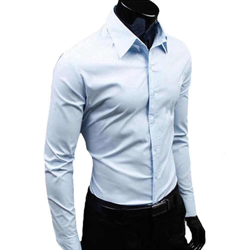 Business Men Solid Color Long Sleeve Down Slim Cotton Plus Size Shirt Long Sleeve Down Slim Cotton Plus Size Shirt Business Men