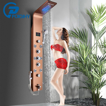 Shower-Panel Column Rain-Waterfall Rose-Gold Big-Display Bathroom Spa-Taps Bidet LED