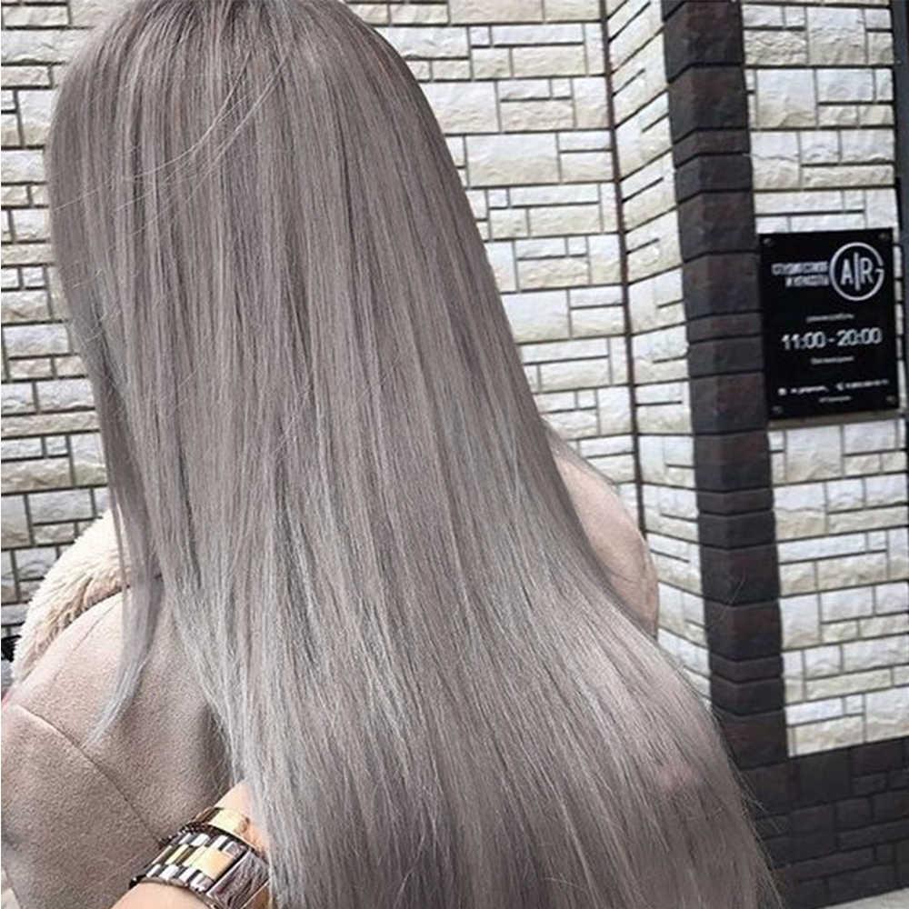 Yüz uzun düz gri kül kahverengi sarı sentetik peruklar beyaz/siyah kadın 24 inç orta kısmı Cosplay veya parti