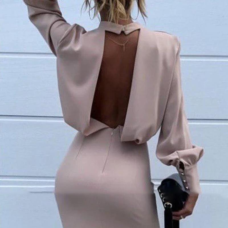 Women Sexy Backless Stand Neck Mini Dress Elegant Lantern Sleeve Buttons Solid Color Sheath Fashion Dress Autumn Women Dress