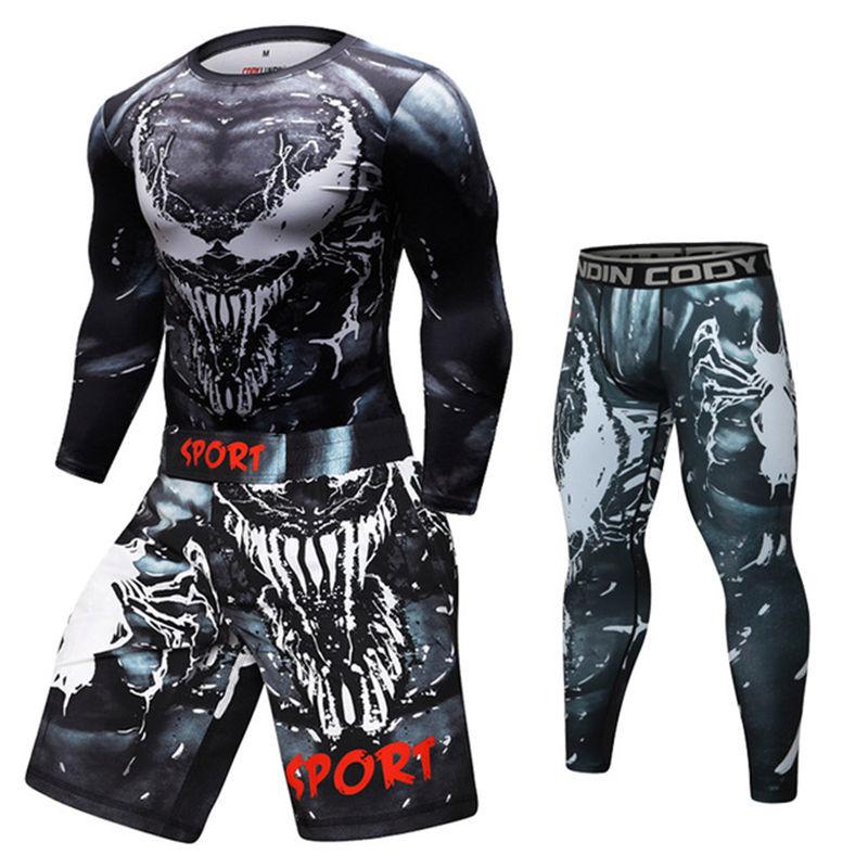 MMA T-shirts+pants Jiu Jitsu Bjj T Shirt Long Sleeve Fitness Fighting Fierce Boxing Sweatshirt Boxing Jerseys Short Suit