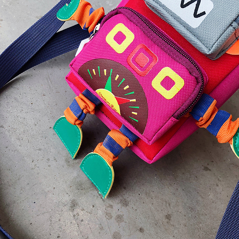 Korean-style New Style Children Small Bag Cool Robot Contrast Color Shoulder Bag Cartoon Cross-body Fun Mini Canvas Bag