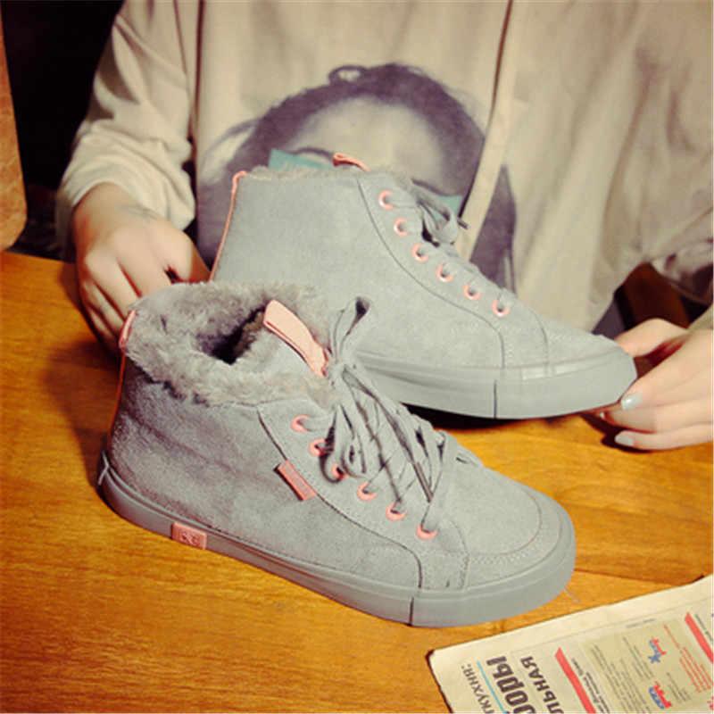 Inverno scarpe Da Tennis Delle Donne di Modo Caldo Della Caviglia Stivali di Pelliccia Peluche Tenere In Caldo Scarpe Donna Lace Up Punta Rotonda Scarpe Comrfortable Scarpe delle donne
