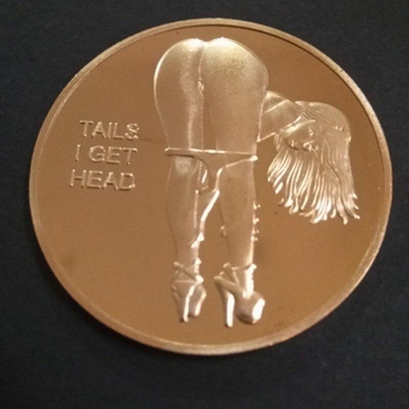 1 шт., сексуальная женская голова с хвостом Человек Взрослый вызов счастливая девушка Памятные золотые монеты