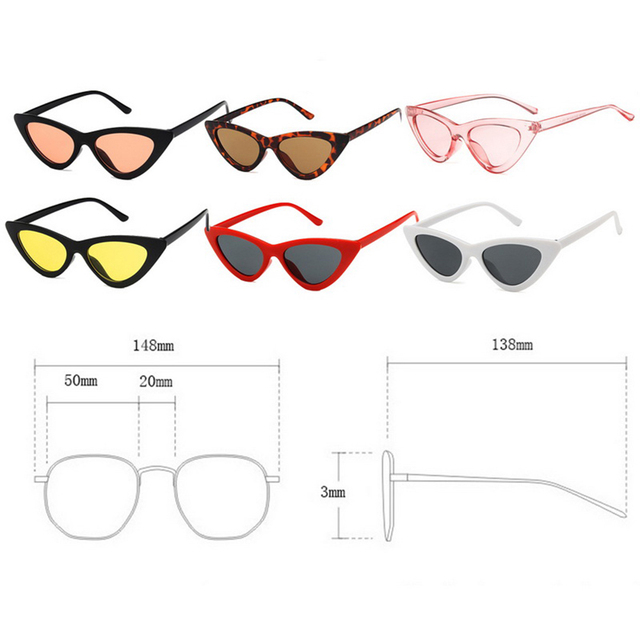 1pc Riding Glasses Fishing Glasses Retro Vintage Sunglasses Vintage Cateye Goggles Sexy Small Cat Eye Sun Glasses for Women 2