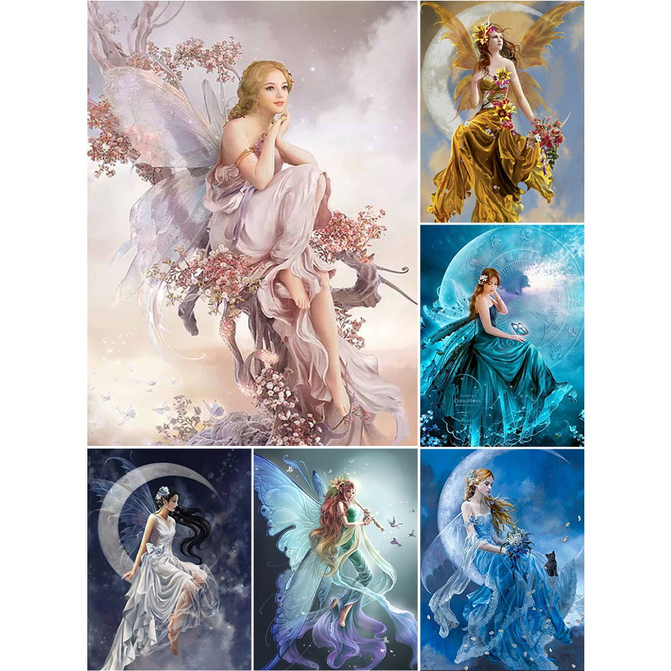 5D DIY Diamond Painting Butterfly Fairy Cross Stitch Kit Full Drill Embroidery Mosaic Art Picture of Rhinestones Room Decor Sale