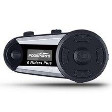 Fodsports V6 Plus interkom interkom w kasku motocyklowym moto zestaw słuchawkowy bluetooth kask 6 zawodników 1200M Intercomunicador FM LED