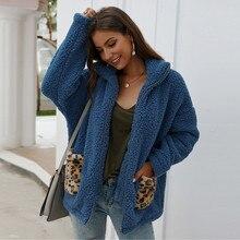 Женская верхняя одежда пальто жакеты модный Леопардовый принт флис с длинными рукавами кардиган на молнии теплое пальто Верхняя одежда Топы F40