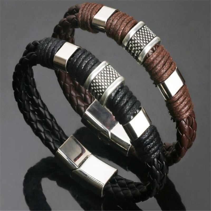High Quality Stainless Steel Charm Bracelet Braided Black Brown Genuine Leather Bracelet for Men's Hand Wristband Jewelry