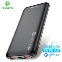 Floveme qc 3.0 banco de potência 10000 mah pd qc3.0 usb tipo c carregador rápido bateria externa powerbank para xiao mi iphone pover banco