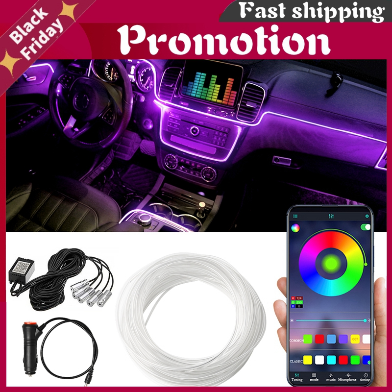 Bluetooth Auto Flexible Lamps Car Atmosphere Light Ambient Interior Decoration App Sound Control Wireless Rgb Neon Led Strips