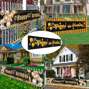 Image 1 - Black Gold Set Cheers Beers to Happy Birthday 30 50 60 70 80 90 Years Birthday Decor Cheers to 40 Years Birthday Party Supplies