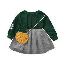 Toddler Girls Princess Dress Kids Long Sleeve Flower Embroidery Dress For Baby Girls Casual Printed Dresses+crossbody Bag #LR5 refreshing long sleeve tiny flower printed flounced dress for women