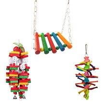 Набор из 3 игрушек для птиц, попугаев, подвесной колокольчик, клетка для домашних птиц, гамак, качели, Прямая поставка, JUL3