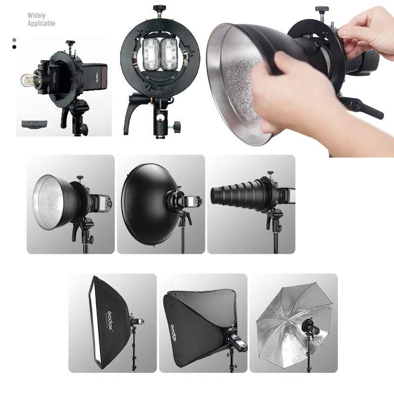 Support Godox S2 s-type support Bowens Compatible avec Godox V1 AD200Pro AD400Pro AD200 V860II TT685 TT600 TT350, grand réglage