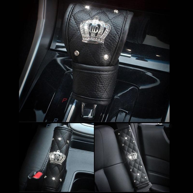 Diamond Crystal Rhinestones Leather Crown Car Seat Belt Pad Gear Shifter Cover Handbrake Covers Set Car Interior Accessories