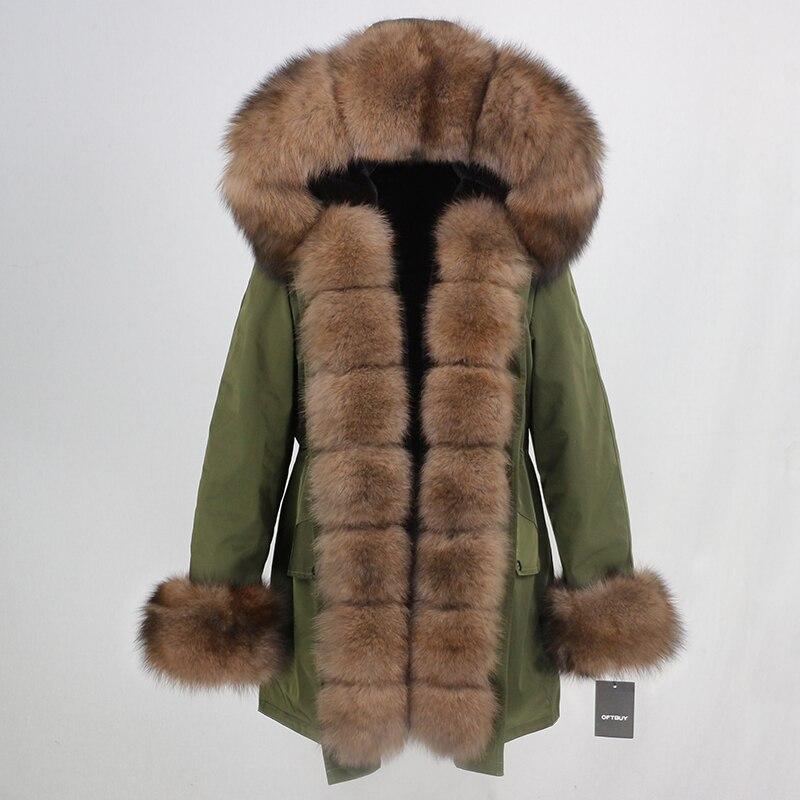 Oftbuy 방수 롱 파커 겨울 자켓 여성 리얼 모피 코트 천연 여우 모피 칼라 후드 두꺼운 따뜻한 streetwear 분리형 신규-에서리얼 퍼부터 여성 의류 의  그룹 3