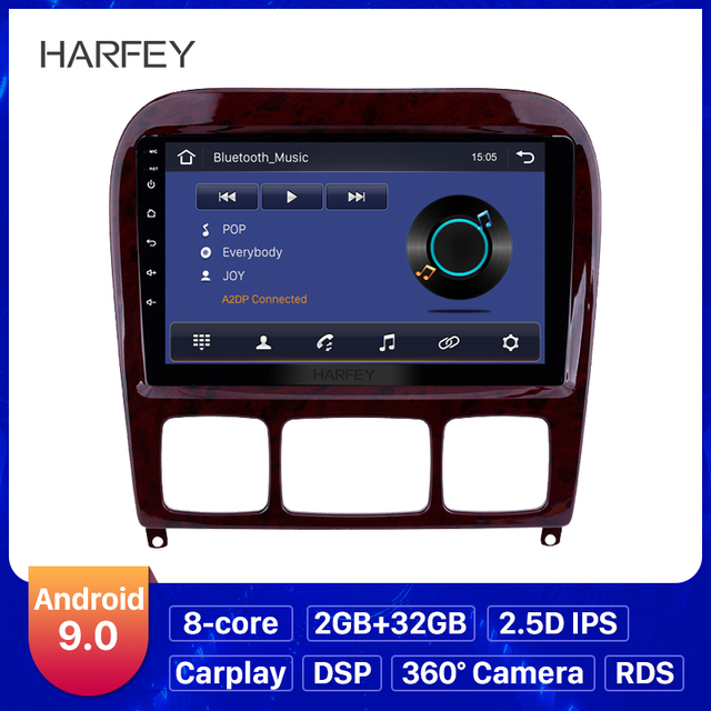 Harfey 9 Android 9.0 Car Radio GPS Navi for Mercedes Benz S Class W220 S280 S320 S350 S400 S430 S500 1998 2005 Audio with AUX