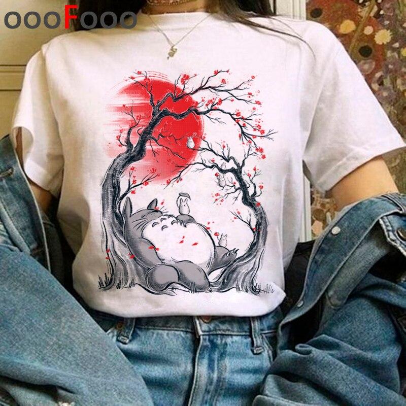Totoro Studio Ghibli Harajuku Kawaii T Shirt Women Ullzang Miyazaki Hayao Tshirt Funny Cartoon T-shirt Cute Anime Top Tee Female(China)