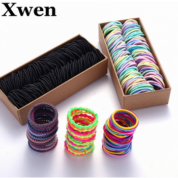 200PCS/Set Girls Candy Colors Nylon Elastic Hair Bands Children Rubber Band Headband Scrunchie Fashion Hair Accessories 1