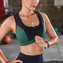 sports bra high impact for women gym running zipper yoga bra padded fitness tops breathable shockproof push up plus size