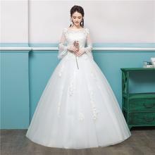 Suknia ślubna 2020 Bride suknie ślubne wiązane w stylu europejskim suknia ślubna z długimi rękawami suknie ślubne z haftem suknie balowe tanie tanio Lifeglad O-neck Pełna Satin NONE Długość podłogi Lace up REGULAR Aplikacje Kwiatowy Print LFwx05 Księżniczka Suknia balowa
