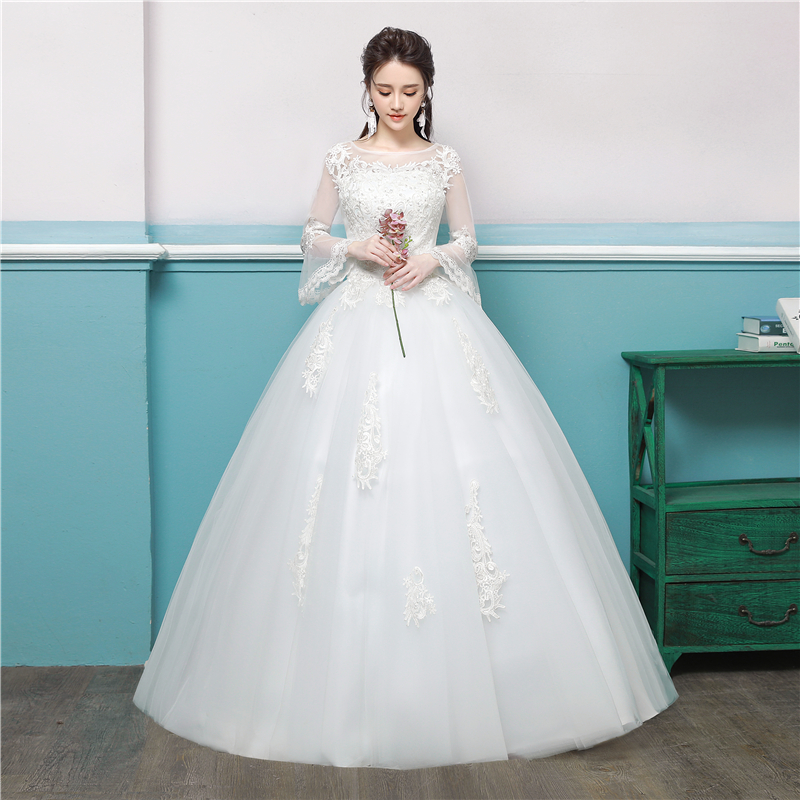Wedding Dress 2020 Bride Lace Up Wedding Dresses European-style Bridal Gown Long-sleeved Bridal Embroidery Dresses Ball Gowns