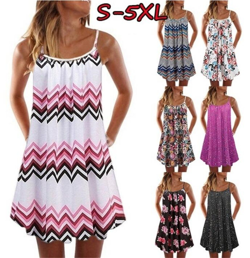 Big Swing Loose Beach Dress Women 2021 Summer Boho Dress Sexy Sleeveless Floral Print Plus Size Casual Mini Dress Vestidos S 5XL