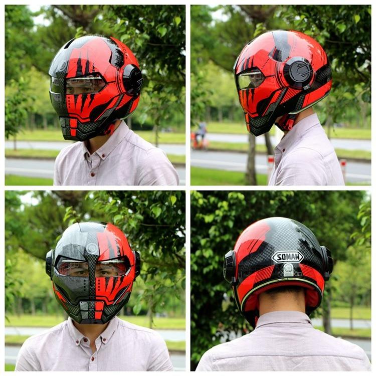 Iron Man Helmets Black Red War Machine Ironman Casque Robot Cosplay Full Face Motorcycle Helmet Flip Up Capacete Retro Motorbike 2