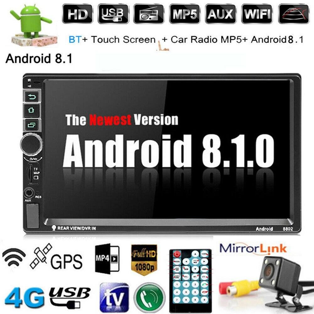 7'' Android 8.1 Car Radio 2 Din Autoradio GPS Navigation 2Din Universal Car Multimedia Player BT FM Mirrorlink Stereo Audio 8802 image