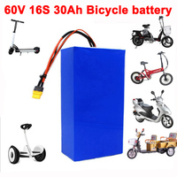 60V 16S8P 30Ah 18650 lithium battery pack 750W 1000W 1800W Balance car Electric Bicycle Scooter tricycle batteries with 30A BMS