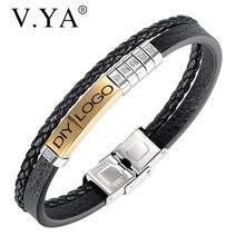V.YA skórzane bransoletki dla mężczyzn damski łańcuszek konfigurowalny grawerowanie ze stali nierdzewnej Casual spersonalizowane bransoletka biżuteria akcesoria