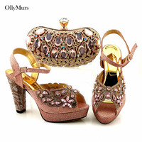 New Arrival Women Pumps Shoes And Bag To Match Set Summer Rhinestone High Heels 11CM Shoes And Bag Set For Wedding Party