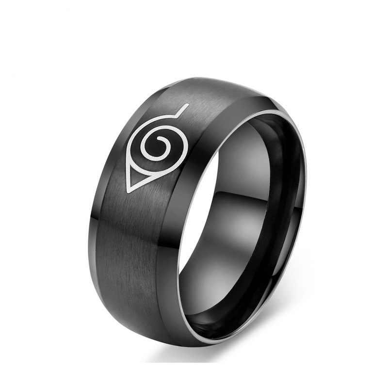 אנימה נארוטו נירוסטה טבעת Konaha סימן טבעת טיטניום פלדה רוחב 8mm טבעת