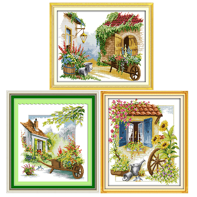 Small Town Scenery Series DIY Patterns Printed Cross Stitch Kits 14CT Counted DMC Fabric Chinese Needlework Embroidery Set Decor image