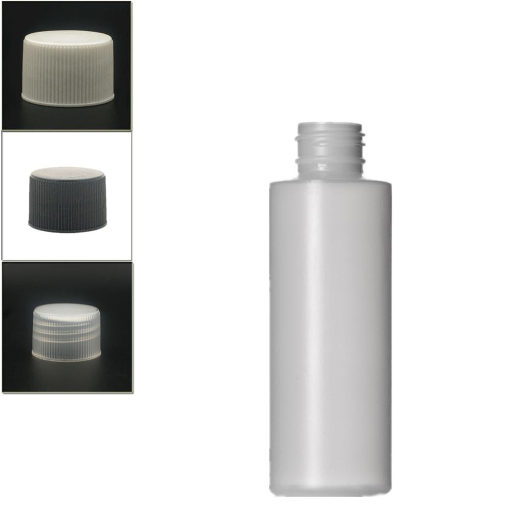 120ml Empty Plastic Bottle ,   HDPE Cylinder Round With Black/white/transparent  Ribbed Screw Lids X5