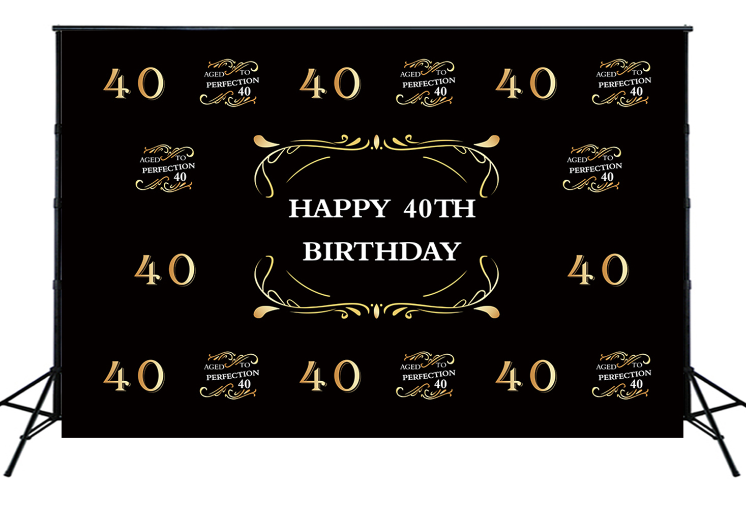 Happy <font><b>40th</b></font> <font><b>Birthday</b></font> <font><b>Backdrop</b></font> Golden Glitter Forty Years Old Party Supplies Decoration Banner Background Photo Booth Props W-2246 image