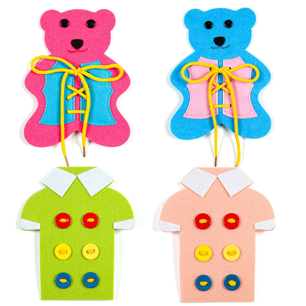 2Pcs Baby EVA Stringing Beads Toy Set DIY Button Lacing Clothes Board Sew On Buttons Fun Educational Toys For Kids Bead Game