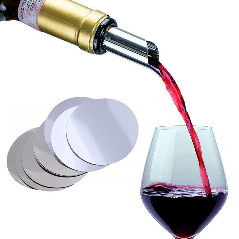 50pcs papier d'aluminium vin verseur disque pliable vin verseur goutte arrêt verser disque verser bec barre outils fête fournitures