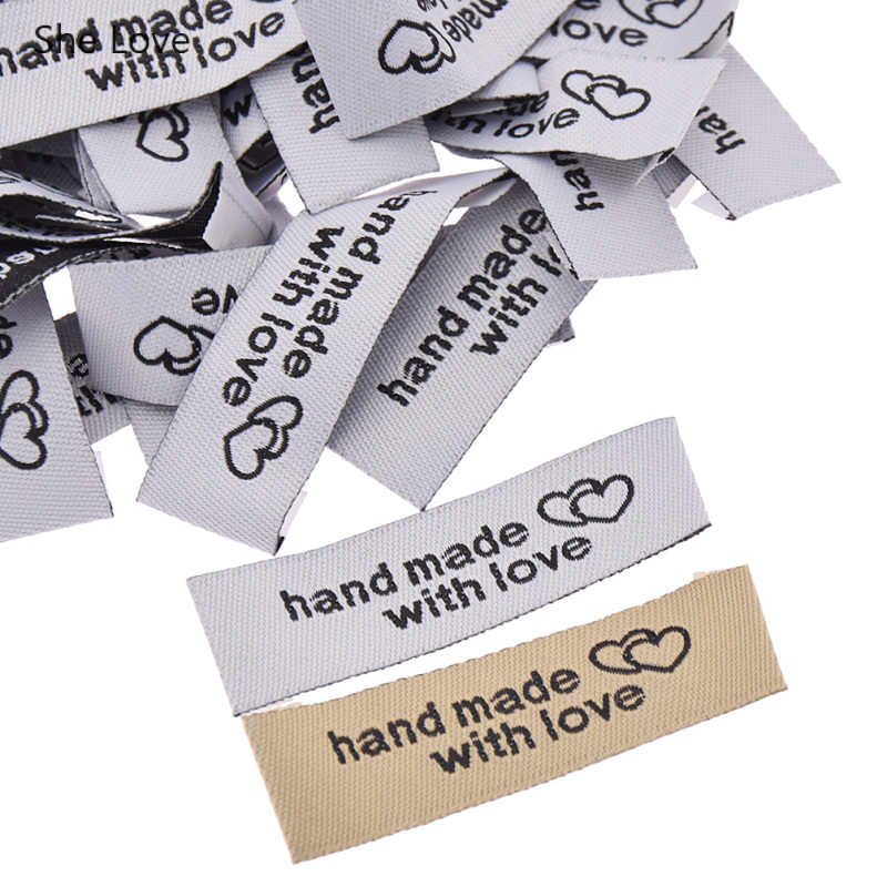 She Love 50Pcs/lot Washable Cloth Woven Labels For Clothes Handmade With Love Sewing Labels For Home Textile Accessories