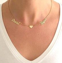 CUSTOM ชื่อสร้อยคอผู้หญิงเด็ก GOLD Filled เครื่องประดับส่วนบุคคล Heart Choker สแตนเลส Collier ของขวัญเพื่อนที่ดีที่สุด
