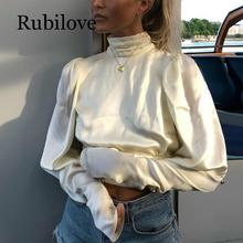 Rubilove Elegant Turtleneck Satin Silk Blouse Women Shirt Backless Women Blouse Long Sleeve Bow Tie Womens Tops and Blouses цена 2017
