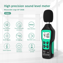 Digital Sound level meter Decibel meter Noise Audio detector 30~130db Fast/Slow Two Modes Noise Meter Measurement multifuctional sound noise level meter ar844 free shipping