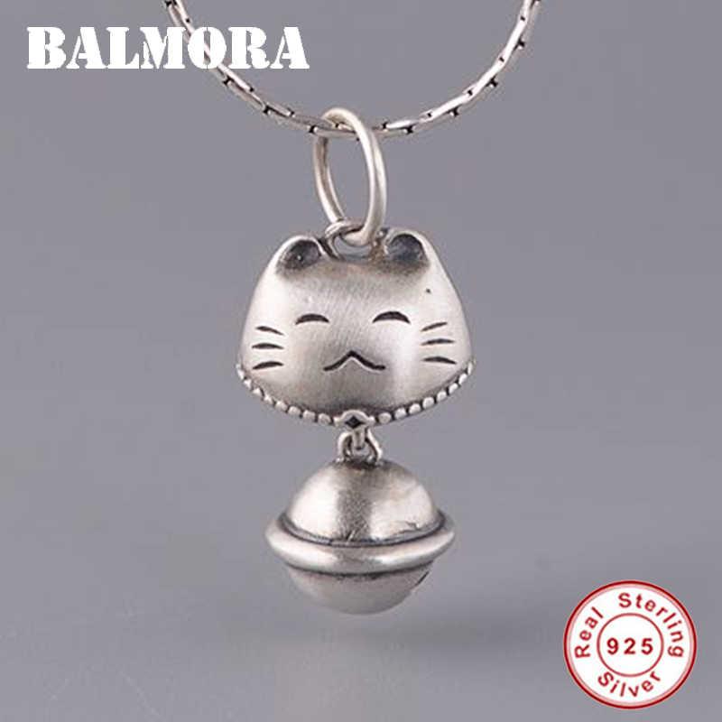 BALMORA ريال 925 فضة لطيف القط و جرس الرجعية المعلقات ل القلائد النساء الرجال الأزواج الاطفال هدية بسيطة مجوهرات الأزياء