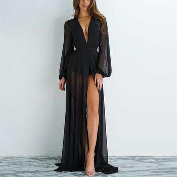 2020 Women Kaftan Beach Dress Mesh Long Bikini Sarong Cover Up Swimwear Beach Wear Bathing Bathing Suit Cover Ups Robe Plage 1